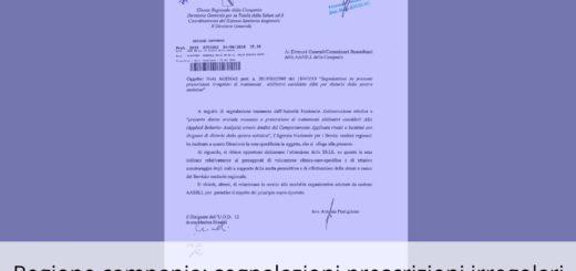 ANGSA Campania Giunta Regionale segnalazione prescrizioni irregolari