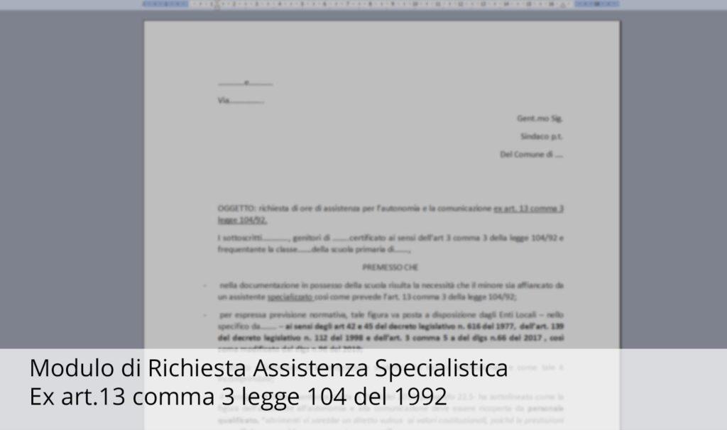 ANGSA CAMPANIA modulo di richiesta specialistica Art 13 Comma 3 Legge 104 del 1992